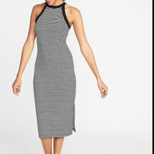 Old Navy High Neck Fitted Midi Dress